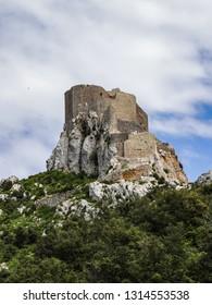 Cucugnan, Aude/France; May 25 2014:  Château de Quéribus, ruined castle in the commune of Cucugnan, Aude, France
