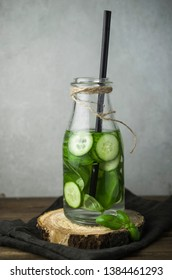 Cucumber fresh water with basil