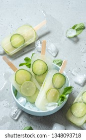 Cucumber, Green Tea and Lime Ice Cream Popsicles with Mint