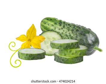 Cucumber isolated with leaf and flower over white background