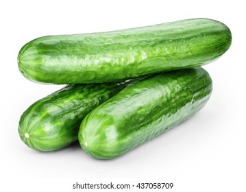 cucumber isolated on white background clipping path