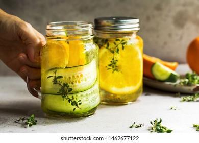 Cucumber, Orange, Lemon Thyme Infused water