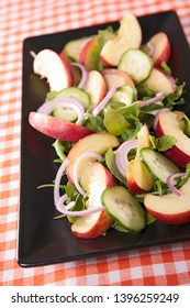 cucumber, peach and onion salad
