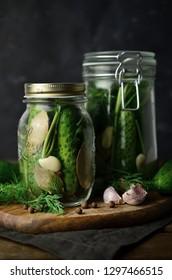 Cucumber pickles in jar
