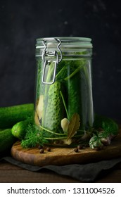 Cucumber pickles in jar