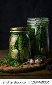 Cucumber pickles in jar on the table