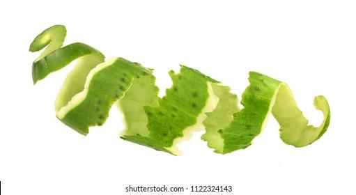 cucumber skin on white background
