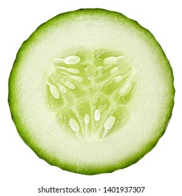 cucumber slice isolated on white background, clipping path, full depth of field