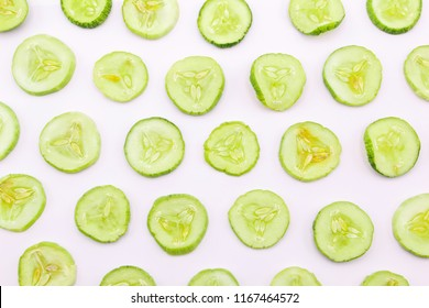 cucumber slice top view isolated on white background.