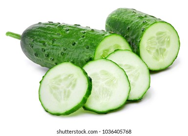 Cucumber and slices isolated on a white background