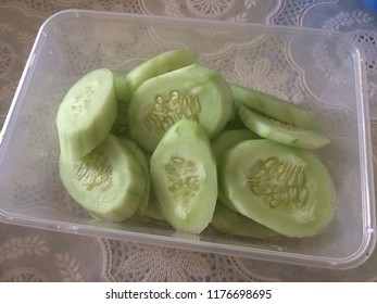 Cucumber that has been sliced