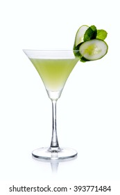 Cucumber & Thyme Martini Cocktail serve in Chilled Martini glass garnish with a cucumber twist - Minimalist