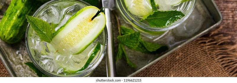 Cucumber Vodka Cocktail Panoramic image. Selective focus.