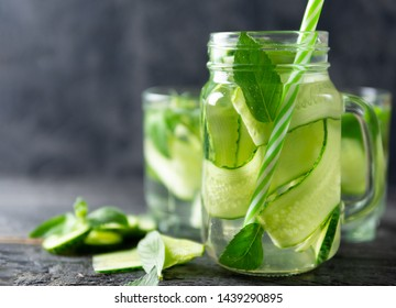 Cucumber water with mint. Summer refreshing detox drink
