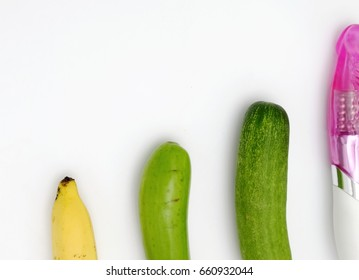 Cucumber,banana,eggplant and dildo sex toy.Fruits and vegetables that the couple like to keep in the house
