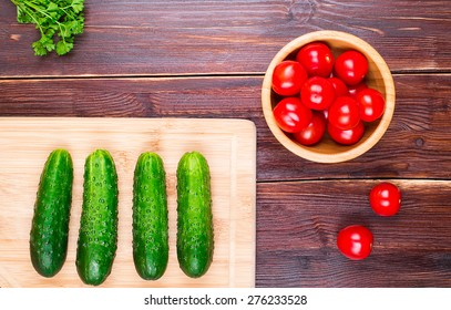 Cucumbers and cherry tomatoes and parsley