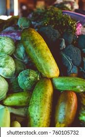 Cucumbers in market