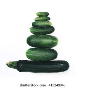 Cucumbers on the white isolated background