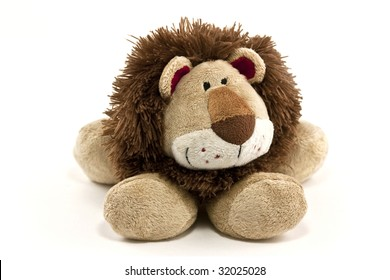 cuddly lion toy isolated on white background