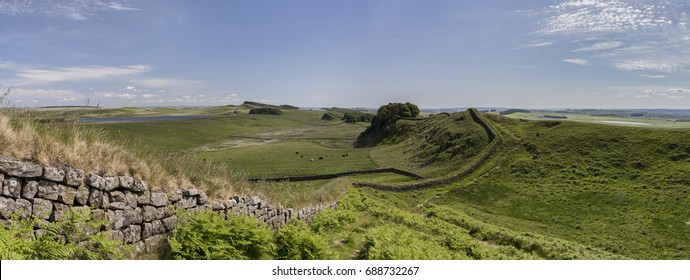Cuddys Crags Hadrians Wall blue sky and clouds panorama