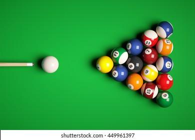 Cue aim billiard snooker pyramid on green table. 3d illustration