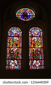Cuenca, Ecuador- December 2018-Cathedral of the Immaculate Conception stained glass.
