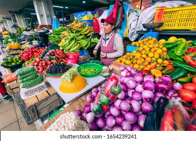 CUENCA, ECUADOR - FEBRUARY 11, 2020: Traditional ecuadorian food market selling agricultural products and other food items in Cuenca, Ecuador, South America.