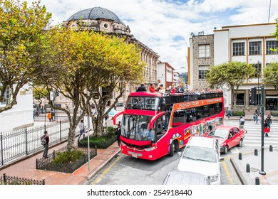 CUENCA, ECUADOR - JAN 9, 2015: Touristic bus in Cuenca. Cuenca is the capital the Azuay Province and its center is a Unesco World Heritage