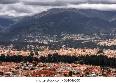 CUENCA, ECUADOR - JAN 9, 2015: Panoramic view of  Cuenca, Ecuador. Cuenca is the capital the Azuay Province and its center is a Unesco World Heritage