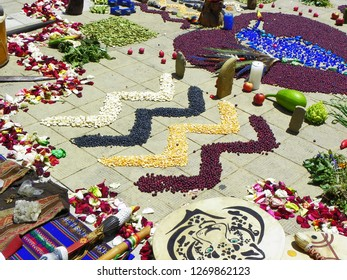 Cuenca, Ecuador- May 18, 2015:Details of Chacana (Chakana) or Ceremony in homage to Pachamama (Mother Earth) - is an aboriginal ritual of the indigenous peoples of the central Andes, Ecuador
