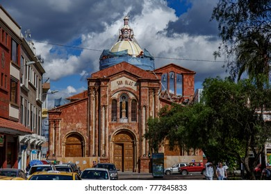 CUENCA, ECUADOR NOVEMBER 25, 2017: Church of San Blas / Iglesia de San Blas. The only Cuenca church built in the form of a Latin cross, and one of the largest church of Cuenca.