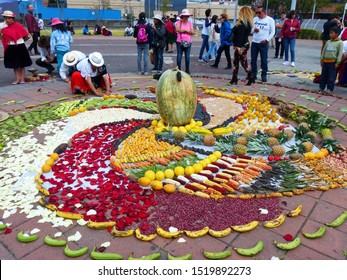 Cuenca, Ecuador - September 21, 2019: Chacana (Andean cross) or Ceremony in homage to Pachamama (Mother Earth) is an aboriginal ritual of the indigenous peoples of central Andes.