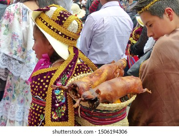 Cuenca, Ecuador-December 24,2018:Christmas parade Pase del Nino Viajero (Traveling Child) in honor of baby Jesus. Girl carries in basket roasted guinea pigs,traditional delicious food of Latin America