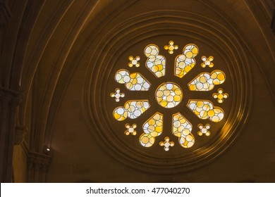 CUENCA, SPAIN - August 24, 2016: Detail of stained glass window in the interior of the Cathedral of Our Lady of Grace and Saint Julian of Cuenca. Castilla-La Mancha, Spain