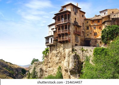 """CUENCA, SPAIN - JUNE 10, 2014: Casas colgadas """"hanging houses"""". Many casas colgadas are built right up to the cliff edge,making Cuenca one of the most striking towns in Spain"""