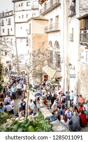 Cuenca / Spain; March 28, 2015: A photo of people partying and drinking with friends in the streets of the beautiful city of Cuenca, located in the community of Castile - La Mancha, in Spain, Europe.