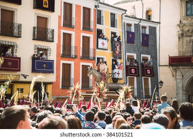 CUENCA, SPAIN - MARCH 29, 2015 - People in The Hosanna Procession during Holy Week in Cuenca, Spain, March 29, 2015.