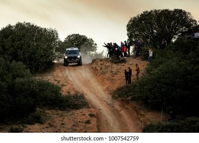 CUENCA, SPAIN - NOV 11 : Spanish driver Nani Roma and his codriver Alex Haro in a Mini All4 Racing race in the III Rally TT Cuenca, on Nov 11, 2017 in Teruel, Spain.