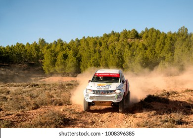 CUENCA, SPAIN - NOV 11 : Spanish driver Jorge Pelenchano and his codriver Marcos Gutierrez in a Mitsubishi L200 race in the III Rally TT Cuenca, on Nov 11, 2017 in Teruel, Spain.