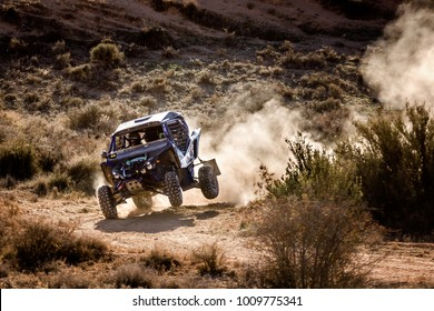 CUENCA, SPAIN - NOV 11 : Spanish driver Marc Duran and his codriver Pol Ross in a Yamaha YXZ 1000R race in the III Rally TT Cuenca, on Nov 11, 2017 in Teruel, Spain.