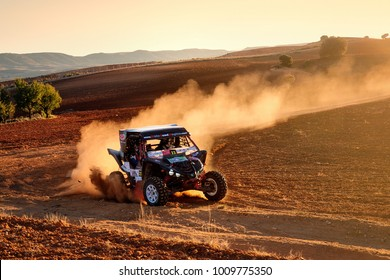 CUENCA, SPAIN - NOV 11 : Spanish driver Pedro Jose Delgado and his codriver Laura Diaz in a Yamaha YXZ 1000R race in the III Rally TT Cuenca, on Nov 11, 2017 in Teruel, Spain.