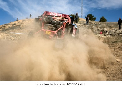 CUENCA, SPAIN - NOV 11 : Spanish driver Manuel Plaza and his codriver Fina Roman in a Can Am SSV Maverick X3 XRS race in the III Rally TT Cuenca, on Nov 11, 2017 in Teruel, Spain.