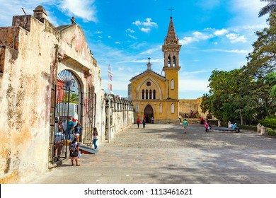 CUERNAVACA, MEXICO - DECEMBER 27, 2015: The Cathedral of the Assumption of Mary of Cuernavaca, Roman Catholic cathedral church of the Diocese of Cuernavaca, located in the city of Cuernavaca, Morelos.