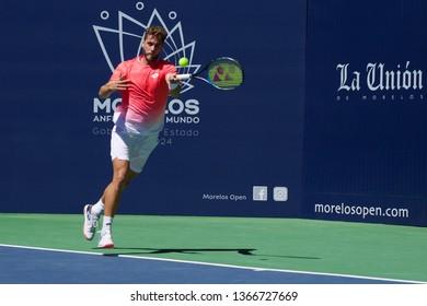 Cuernavaca, Morelos, México; February 21, 2019. MORELOS OPEN CRÉDITO REAL 2019 ATP Challenger Tour Round 3, player Roberto Quiroz -ECU- match against Stefan Koslov from USA