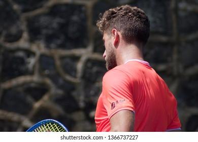 Cuernavaca, Morelos, México; February 22, 2019. MORELOS OPEN CREDITO REAL 2019 ATP Challenger Tour Round 4, player Roberto Quiroz -ECU- match against Steven Diez from Canada.