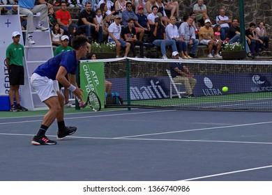 Cuernavaca, Morelos, México; February 23, 2019. MORELOS OPEN CREDITO REAL 2019 ATP Challenger Tour Semi-Final, player Gonzalo Escobar -ECU- match against Steven Diez from Canada.
