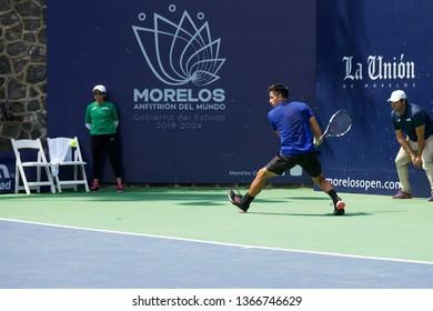 Cuernavaca, Morelos, México; February 24, 2019. MORELOS OPEN CREDITO REAL 2019 ATP Challenger Tour Final, Player Gonzalo Escobar -ECU- match against Martin Descotte from Argentina.