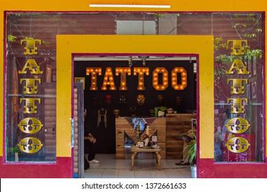 Cuernavaca, Morelos / Mexico - April 10 2019: Tattoo Shop in Downtown Cuernavaca