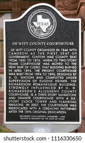 CUERO, TEXAS - JUNE 10 2018: plaque outling the history of the DeWitt County Courthouse