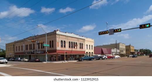 CUERO, TEXAS - JUNE 10 2018: a wide street through a small Texas town